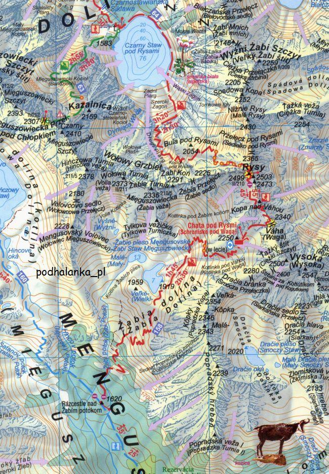 Tatry Bielskie Tatry Wysokie Polskie I Slowackie Mapa